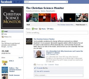 Christian Science Monitor Facebook Page