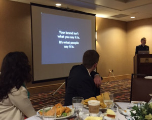 Kevin Grady (right) presenting at a recent Ad Club of Western Mass. luncheon